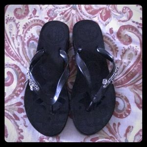 New Black BCBG Girls Wedge Flip Flops